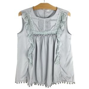 Sleeveless Smock Style Tassel Embroidered Lace S